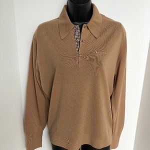 Aquascutum Vintage 100% Wool Sweater Taupe Size S